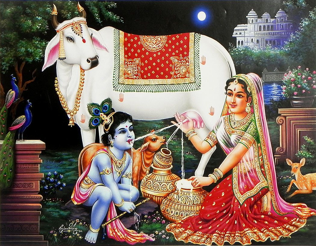 lord krishna with mother